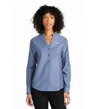 Ladies Long Sleeve Chambray Easy Care Shirt - Moonlight Blue